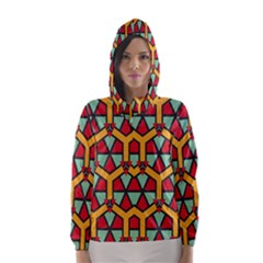 Honeycombs triangles and other shapes pattern Hooded Wind Breaker (Women)