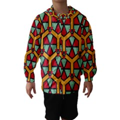 Honeycombs triangles and other shapes pattern Hooded Wind Breaker (Kids)