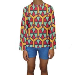Honeycombs triangles and other shapes pattern  Kid s Long Sleeve Swimwear