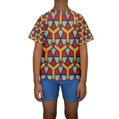 Honeycombs Triangles And Other Shapes Pattern  Kid s Short Sleeve Swimwear