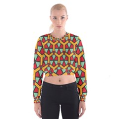 Honeycombs triangles and other shapes pattern   Women s Cropped Sweatshirt