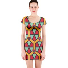 Honeycombs Triangles And Other Shapes Pattern Short Sleeve Bodycon Dress