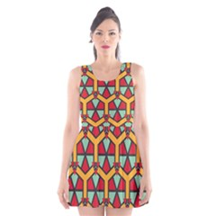 Honeycombs triangles and other shapes pattern Scoop Neck Skater Dress