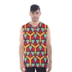 Honeycombs Triangles And Other Shapes Pattern Men s Basketball Tank Top