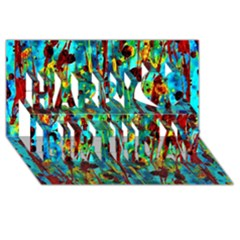 Turquoise Blue Green  Painting Pattern Happy Birthday 3D Greeting Card (8x4)