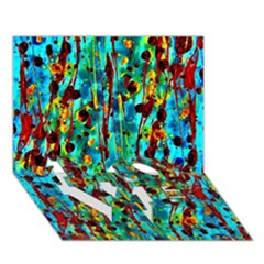 Turquoise Blue Green  Painting Pattern LOVE Bottom 3D Greeting Card (7x5)