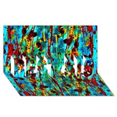 Turquoise Blue Green  Painting Pattern Best Sis 3d Greeting Card (8x4)