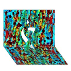 Turquoise Blue Green  Painting Pattern Ribbon 3d Greeting Card (7x5)