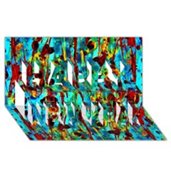 Turquoise Blue Green  Painting Pattern Happy New Year 3D Greeting Card (8x4)