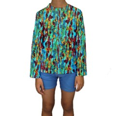 Turquoise Blue Green  Painting Pattern Kid s Long Sleeve Swimwear