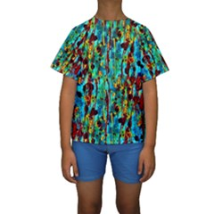 Turquoise Blue Green  Painting Pattern Kid s Short Sleeve Swimwear