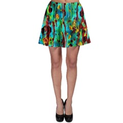 Turquoise Blue Green  Painting Pattern Skater Skirts