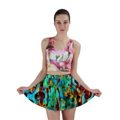 Turquoise Blue Green  Painting Pattern Mini Skirts