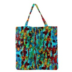 Turquoise Blue Green  Painting Pattern Grocery Tote Bags