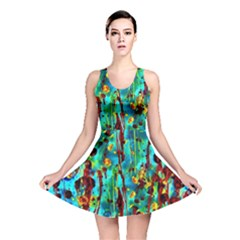 Turquoise Blue Green  Painting Pattern Reversible Skater Dresses