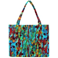Turquoise Blue Green  Painting Pattern Tiny Tote Bags