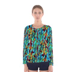 Turquoise Blue Green  Painting Pattern Women s Long Sleeve T-shirts