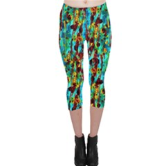 Turquoise Blue Green  Painting Pattern Capri Leggings