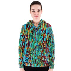 Turquoise Blue Green  Painting Pattern Women s Zipper Hoodies