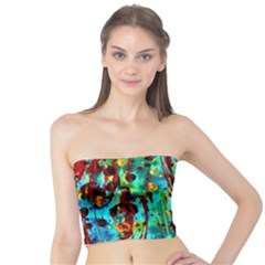 Turquoise Blue Green  Painting Pattern Women s Tube Tops
