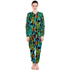 Turquoise Blue Green  Painting Pattern Onepiece Jumpsuit (ladies)