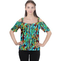 Turquoise Blue Green  Painting Pattern Women s Cutout Shoulder Tee