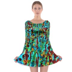 Turquoise Blue Green  Painting Pattern Long Sleeve Skater Dress