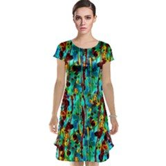 Turquoise Blue Green  Painting Pattern Cap Sleeve Nightdresses