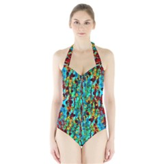 Turquoise Blue Green  Painting Pattern Women s Halter One Piece Swimsuit