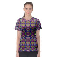 Ethnic Modern Geometric Patterned Women s Sport Mesh Tees