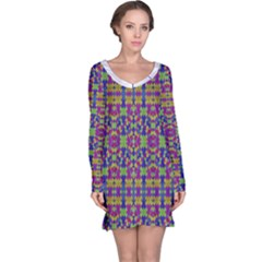 Ethnic Modern Geometric Patterned Long Sleeve Nightdresses