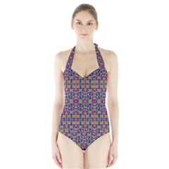 Ethnic Modern Geometric Patterned Women s Halter One Piece Swimsuit