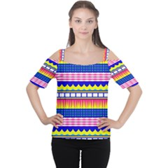 Rectangles waves and circles Women s Cutout Shoulder Tee