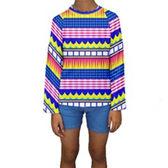 Rectangles waves and circles  Kid s Long Sleeve Swimwear