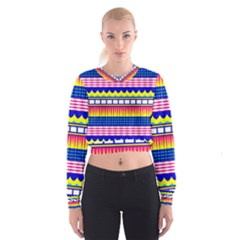 Rectangles waves and circles   Women s Cropped Sweatshirt