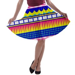 Rectangles waves and circles A-line Skater Skirt