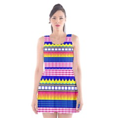 Rectangles Waves And Circles Scoop Neck Skater Dress