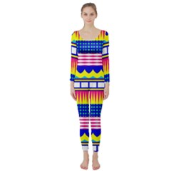 Rectangles Waves And Circles  Long Sleeve Catsuit
