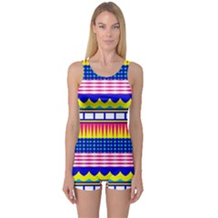 Rectangles waves and circles Women s Boyleg One Piece Swimsuit