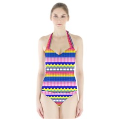 Rectangles waves and circles Women s Halter One Piece Swimsuit