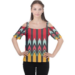 Waves and other shapes pattern Women s Cutout Shoulder Tee