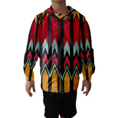 Waves and other shapes pattern Hooded Wind Breaker (Kids)