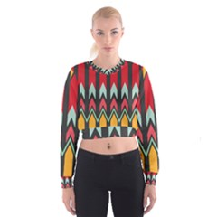 Waves And Other Shapes Pattern   Women s Cropped Sweatshirt