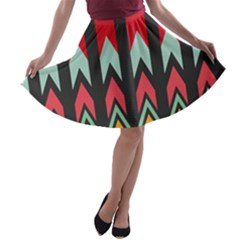 Waves and other shapes pattern A-line Skater Skirt