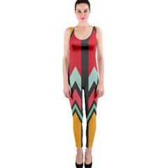 Waves And Other Shapes Pattern Onepiece Catsuit