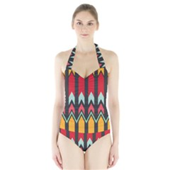 Waves and other shapes pattern Women s Halter One Piece Swimsuit