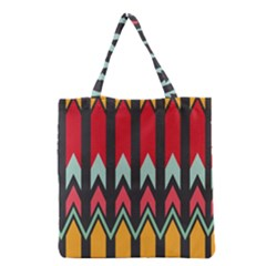Waves And Other Shapes Pattern Grocery Tote Bag