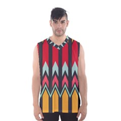 Waves And Other Shapes Pattern Men s Basketball Tank Top