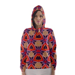 Triangles honeycombs and other shapes pattern Hooded Wind Breaker (Women)
