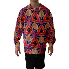 Triangles honeycombs and other shapes pattern Hooded Wind Breaker (Kids)